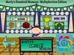 Marty's Baseball Museum- Interactive Multiplication Game for Google Slides / Adobe PDF Readers