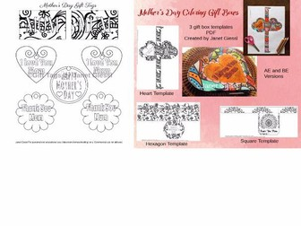 Mother's Day Gift Tags and Mother's Day Gift Box Templates
