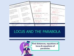 Locus and Parabola Worksheet with Answers Yr12