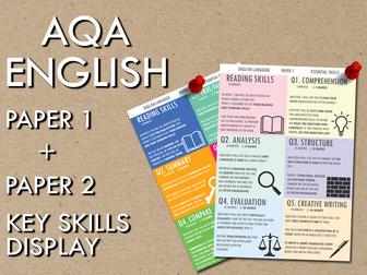AQA English, Paper 1 + Paper 2 Key Skills Display