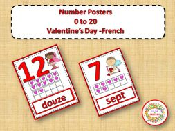 Number Anchor Charts 0 to 20 with Ten Frames - Valentines - French - Les Nombres