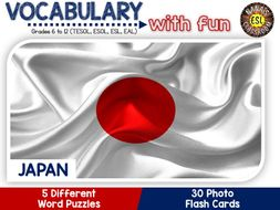 Japan - Country Symbols: 5 Different Word puzzles and 30 Photo flash cards (ESL, ELA, ELL, TESOL)