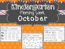Kindergarten Morning Work (October)