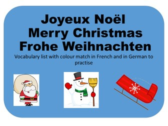 Christmas Vocabulary in French and German (Colour Match)