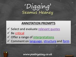 Seamus Heaney – 'Digging' – Annotation / Planning Table / Questions / Booklet
