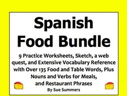 Spanish Food and Meals Bundle of 9 Worksheets, Web Quest, Sketch, and Vocabulary