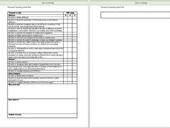 AQA Cell biology check list and marking sheet