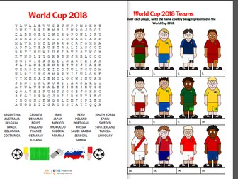 World Cup 2018 wordsearch and anagrams activity