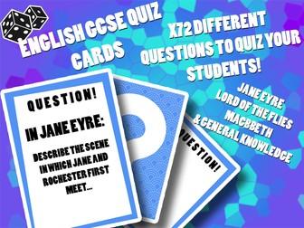 English GCSE Quiz Cards (72 questions, Jane Eye, Lord of the Flies, Macbeth etc)