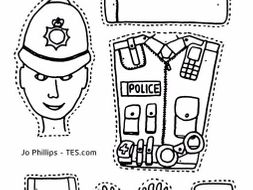 Policeman - Craft activity with split pins  Colour, cut, pin and play