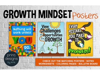 20 Growth Mindset Classroom Posters