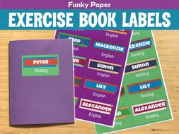 Funky Paper Exercise Book Labels (Editable)