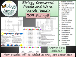 Biology Crossword Puzzle and Word Search Bundle