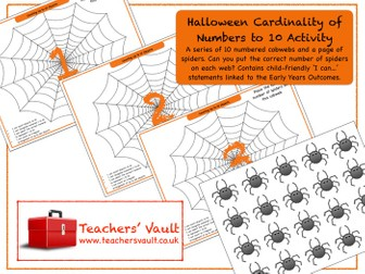 Halloween Cardinality of Numbers to 10 Activity