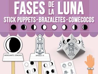 Fases de la Luna Stick Puppets, Brazaletes y Comecocos - SPANISH VERSION