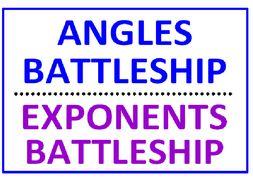 Angles Battleship PLUS Exponents Battleship Using Greater Than Less Than (Both Sets)
