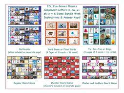 Phonics Consonant Letters h-hw-w-zh-z-y 6 Game Bundle