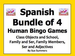 Spanish Human Bingo Game Speaking and Written Follow-Up Bundle of 4