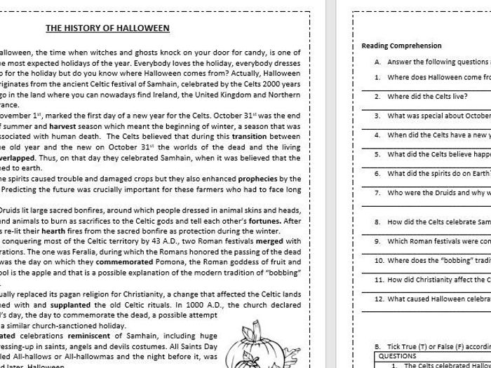 Beautiful The History Of Halloween   Reading Comprehension Worksheet / Vocabulary  Worksheet