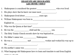 Shakespeare A&E Television Autobiography Special Fill-in-the-Blank ...