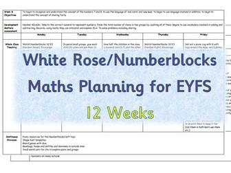 EYFS Maths Planning - White Rose/Numberblocks based - 12 weeks