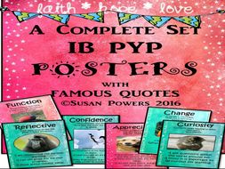 A Complete Set of IB PYP Classroom Posters with Authors' Quotes