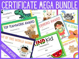 Bundle of reward certificate designs to print or use online