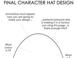 Final Character Hat Design Template With Annotation Guide KS3 Textiles Handout