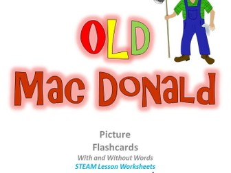 """Children Song: """"Old Mac Donald"""" Picture Cards, Sheet Music plus STEAM worksheets"""