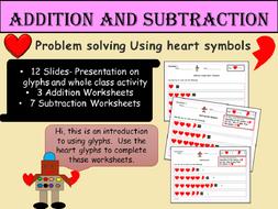 St. Valentine's Heart Glyphs- Addition /Subtraction Problem-Solving Worksheets Presentation EYFS/KS1