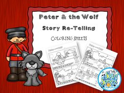 Peter and the Wolf Story Re-Telling & Coloring Sheets