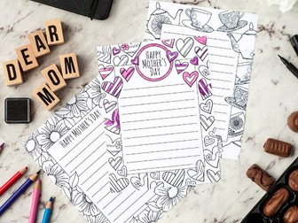 Mother's Day Stationery – 3 printable letterheads to color and send to Mom / Mum | Printable PDF