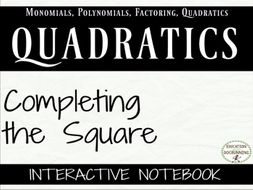 Completing the Square Foldable Notes and Practice to complete the square
