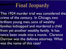 Jeopardy Game ~ MURDER ~ Criminal Law ~ Homicide ~ Prosecution ~ Defense