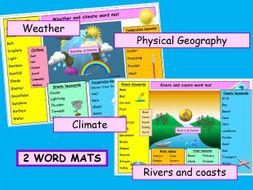 WORD MATS  Weather and climate / Rivers and coasts - vibrant ks1 ks2 ks3 -2 resources