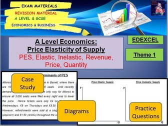 Price Elasticity of Supply (PES) Activity and Questions: A Level Economics; GCSE Economics