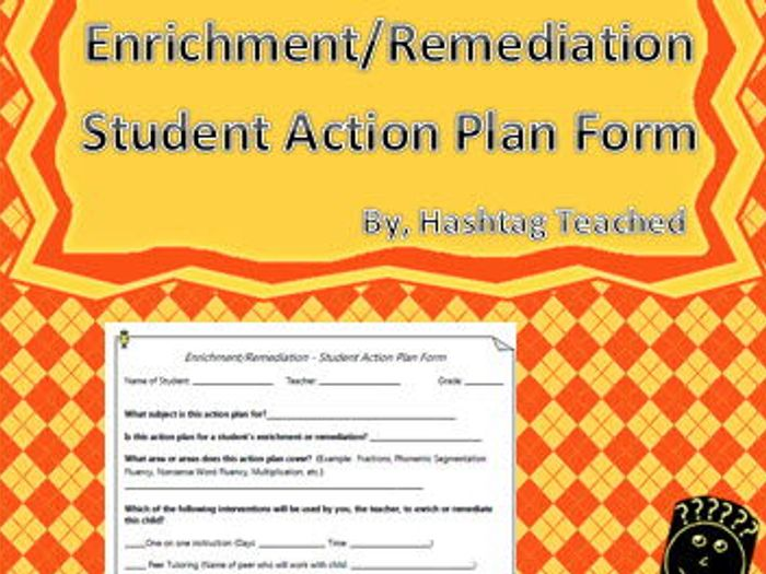 Enrichment And Remediation Student Action Plan Template Form