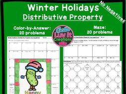 Distributive Property No Negatives Winter Bundle - Maze & Color by Number