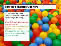 Creative Writing - Sentence Openers