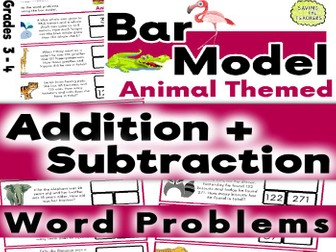 Problem Solving: Animal Addition and Subtraction Bar Model Word Problems: Years 4 and 5