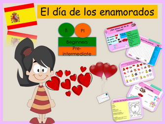 Spanish Valentine's day lesson + exercise / Dia de San Valentin (no prep)