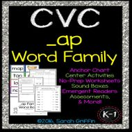 CVC ap Word Family Worksheets, Centers, Word Cards, and Assessments