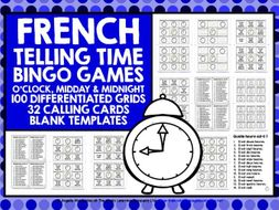 PRIMARY FRENCH TELLING TIME BINGO O'CLOCK