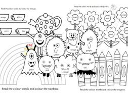 colours colouring pages for early years