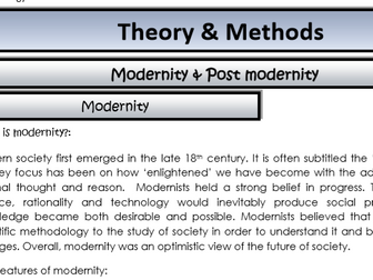 AQA Sociology - Year 2 - Theory & Methods - Modernity and post modernity