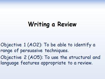 Writing a Review. GCSE English Language. 1-9. A02 & A05