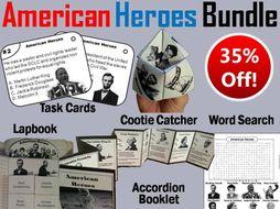American Heroes Task Cards and Activities Bundle