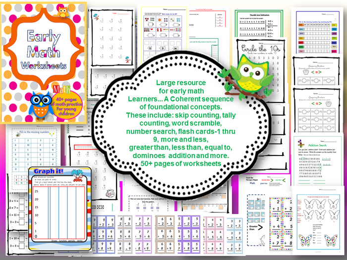 Early Math Worksheets By Downbythebay Teaching Resources Tes Thinking Skills Worksheets Early Math Worksheets
