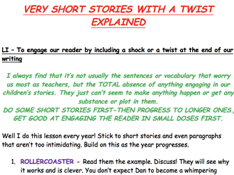KS2 WRITING - VERY SHORT STORIES WITH A TWIST