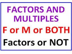Factors or Multiples or Both PLUS Factors or Not (4 Worksheets)